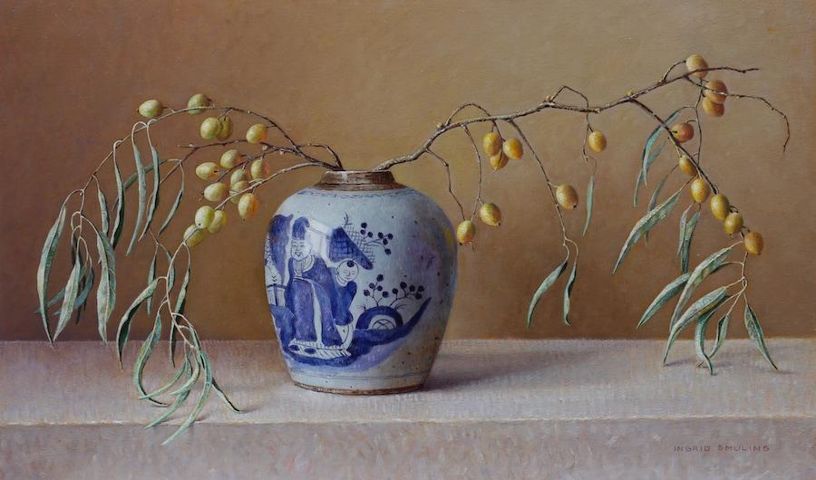Chinese pot met takjes uit de duinen