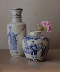 Geranium en Chinese vaas