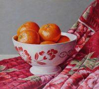 Gewatteerd kimonojasje met mandarijnen in Franse kom