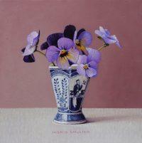 Lange lijs eierdop met viooltjes