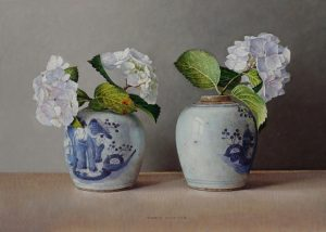 Witte hortensia's in Chinese potten